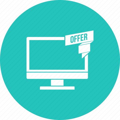 desktop, discount, lcd, monitor, offer, sale icon