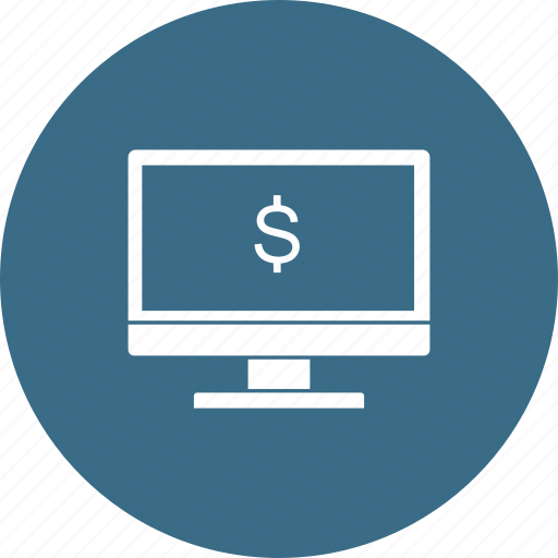 desktop, discount, dollar, lcd, monitor, offer, sale icon