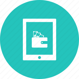 cash, discount, money, offer, sale, tablet, wallet icon