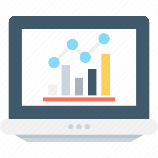 bar graph, business chart, graph, laptop, online graph icon
