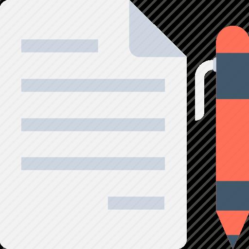 document, pen, sheet, writing, writing paper icon