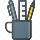 cup, office, pen, tools, writing icon
