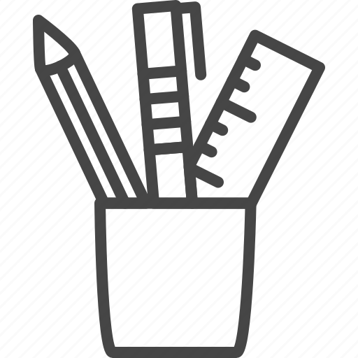 holder, line, office, outline, pen, service, table icon