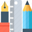drafting, drawing tools, geometry, pen, ruler icon