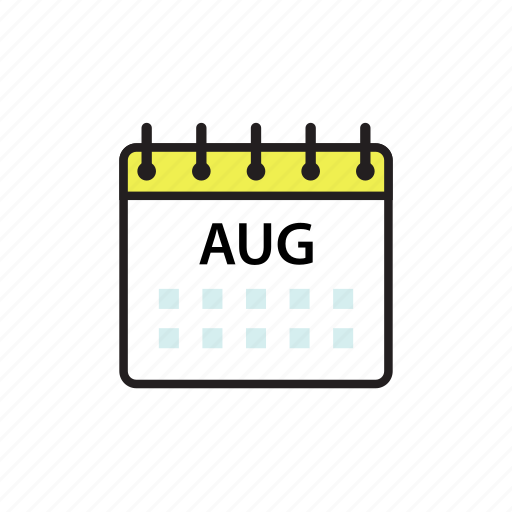 aug, august, calendar, month icon