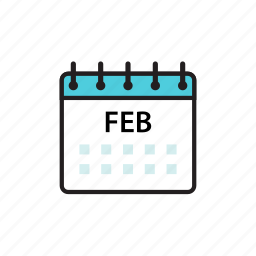 calendar, feb, february, month icon