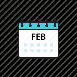 calendar, feb, february, month icon