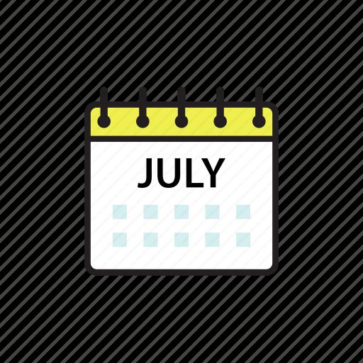 calendar, jul, july, month icon