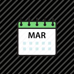 calendar, mar, march, month icon