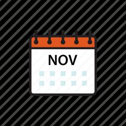 calendar, month, nov, november icon