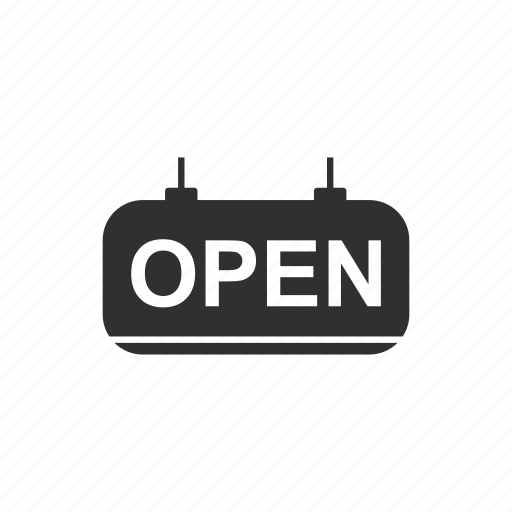 open, open tag, shop, store icon