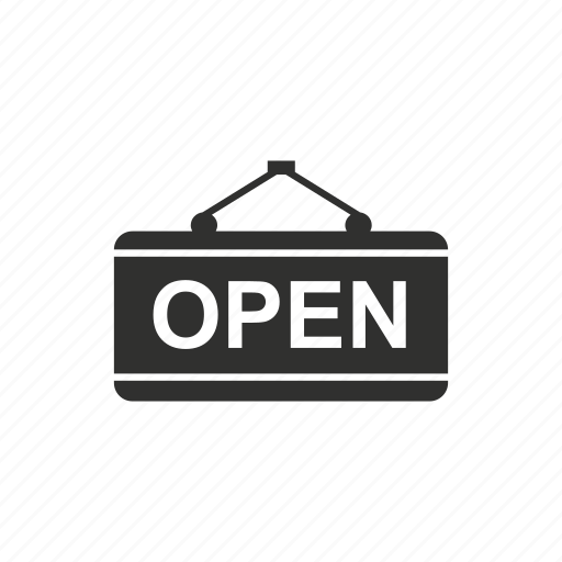 mall, open, open tag, store icon