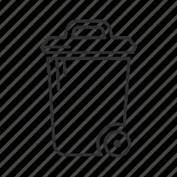 recycle, recycle bin, trash, trash bin, trash can, trash can with lid, trash can with wheels icon