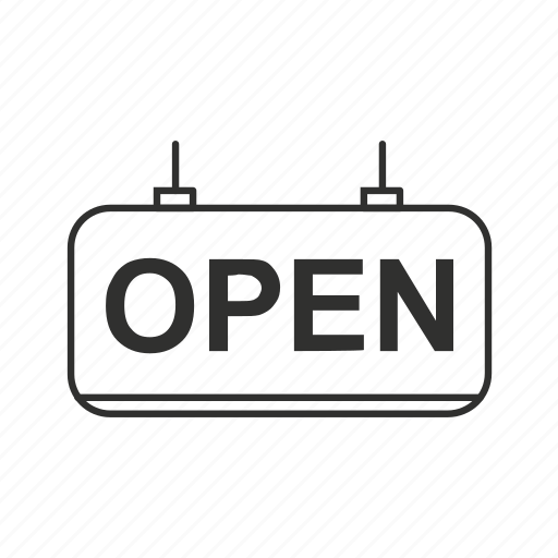 business open, hanging open sign, open, open business, open sign, we're open icon