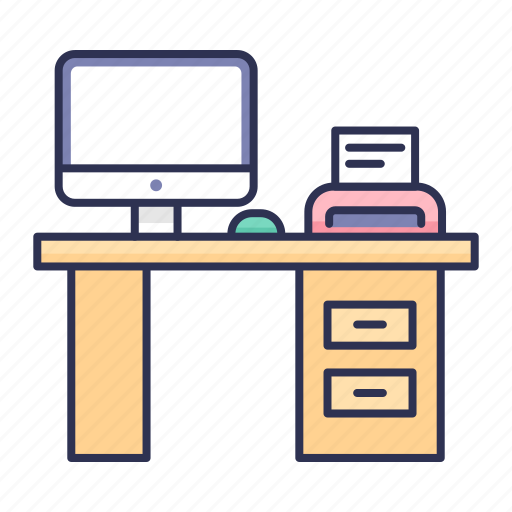 computer, office, table, work place, working icon