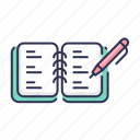 note, write, pen, notebook icon