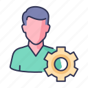 business, gear, man, setting, working icon