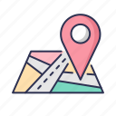 location, map, nevigation, pin, place, road icon