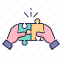 game, hand, puzzle, solution, strategy, together icon