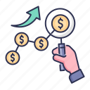 search, financial, earning growth, business growth, dollar, growth icon