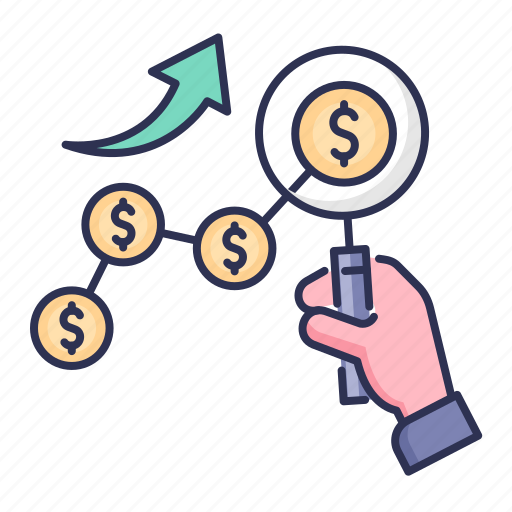 business growth, dollar, earning growth, financial, growth, search icon