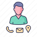 address, call, contact, location, mail icon