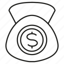 dollar, invest, money, purse, saving icon
