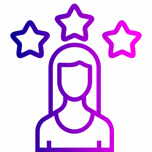 achievement, avatar, employee, office, star, user, woman icon