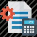analytics, budget analysis, calculation, management, mathematical setting icon