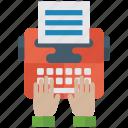 copywriting, electronic media, typewriter, typing machine, vintage typewriter icon