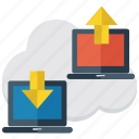 cloud network, online communication, online data, online downloading, online uploading, social network icon