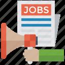 advertisement, job news, job opportunity, job promotion, job vacancy icon