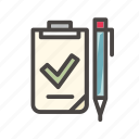 arrow, checklist, document, list, office, sign, tick icon