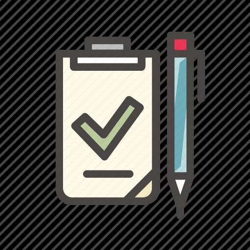 arrow, checklist, document, list, office, sign, tick icon