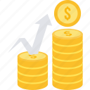 growth, revenue, cash, coins, dollar, increase, money icon
