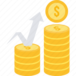 cash, coins, dollar, growth, increase, money, revenue icon