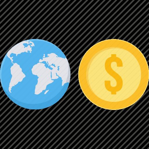 dollar, earnings, global, money, revenue, world icon