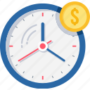 alarm, budget, clock, dollar, money, time icon