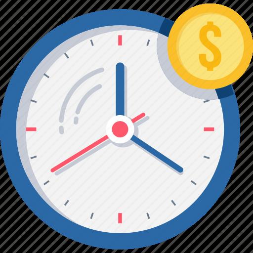 alarm, budget, clock, dollar, money, time icon