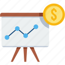 board, chart, financial presentation, pie, presentation, promo, revenue icon