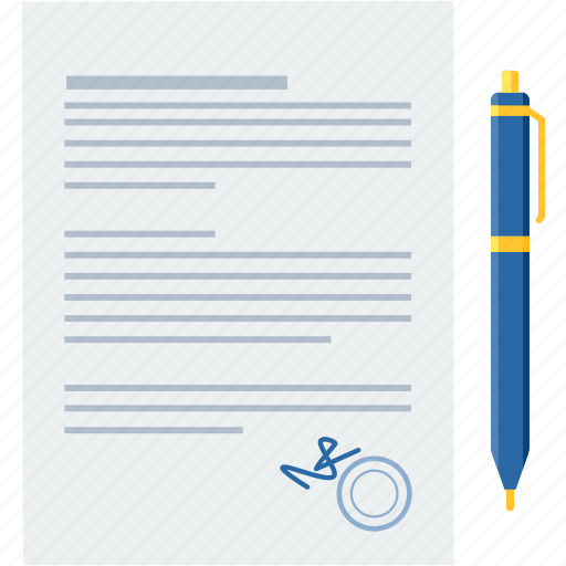 Agreement, contract, document, paper, sign, pen, signature icon - Download on Iconfinder