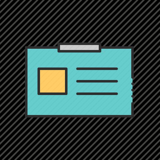 badge, card, document, id, identity, name icon