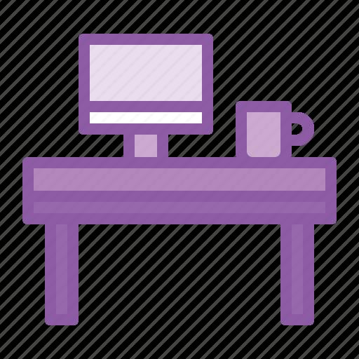 coffee, desk, laptop, mug, office, table icon