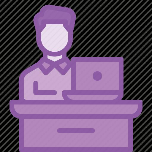 desk, employee, laptop, office, table icon