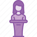 host, lady, podium, presentation, speaker icon