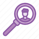employee, human, research, resource, search icon