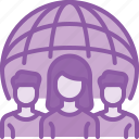 client, communityemployee, international, remote, social, work, world icon