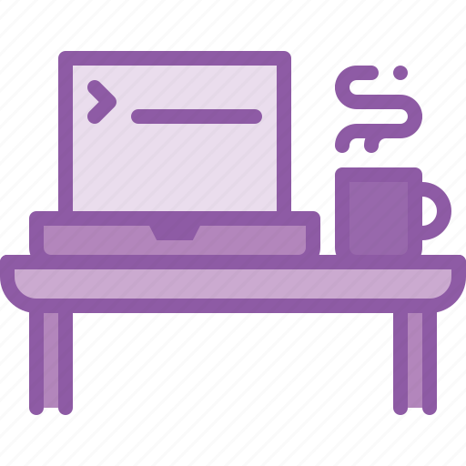 coding, desk, laptop, office, programming, table icon
