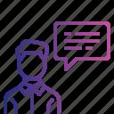 chatting, communication, conversation, employee, talk icon