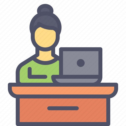 Desk, employee, laptop, office, table icon - Download on Iconfinder